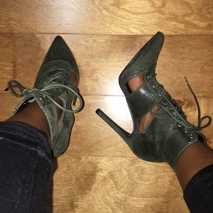 Lace up booties. NWOT